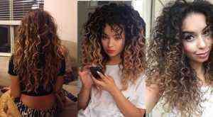 Kıvırcık Saçlı kadınlar için ombre önerileri